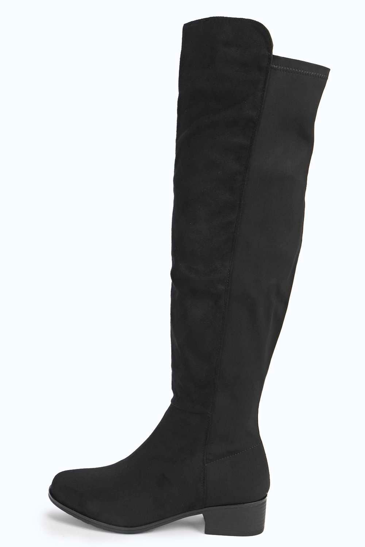 boohoo elastic back flat knee boot in black lyst