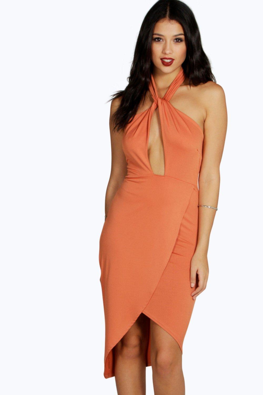Lyst Boohoo Allison Cross Front Wrap Skirt Midi Dress In