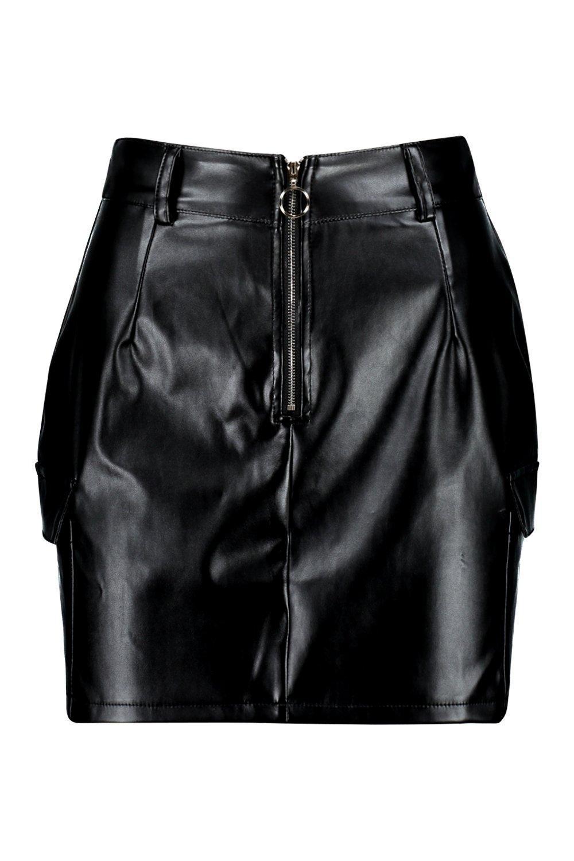 ed88f8bbb08 Boohoo Petite Pocket Detail Pu Mini Skirt in Black - Lyst