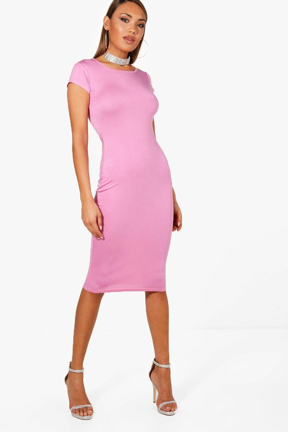 1134c0e5389 Boohoo Cara Cap Sleeve Midi Bodycon Dress in Pink - Lyst