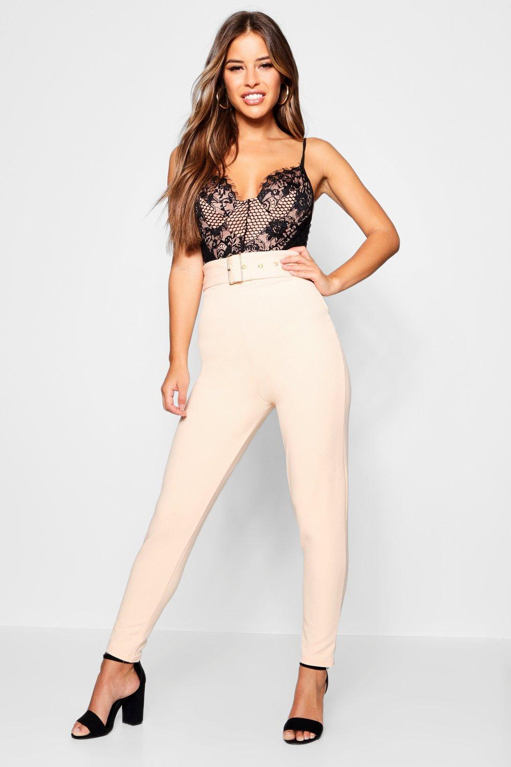 be6736b7eb32 Boohoo. Women's Petite Belted High Waisted Cigarette Trousers