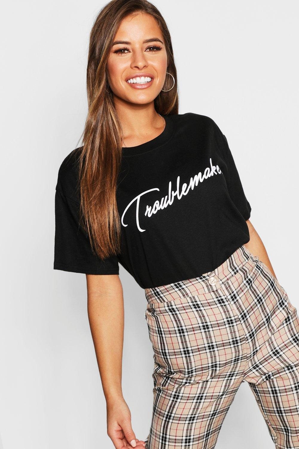 bb381734bc Boohoo. Women's Petite Troublemaker Slogan T-shirt