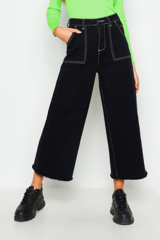 c2836b4435a4 Boohoo - Black High Rise Contrast Stitch Wide Leg Jeans - Lyst. View  fullscreen