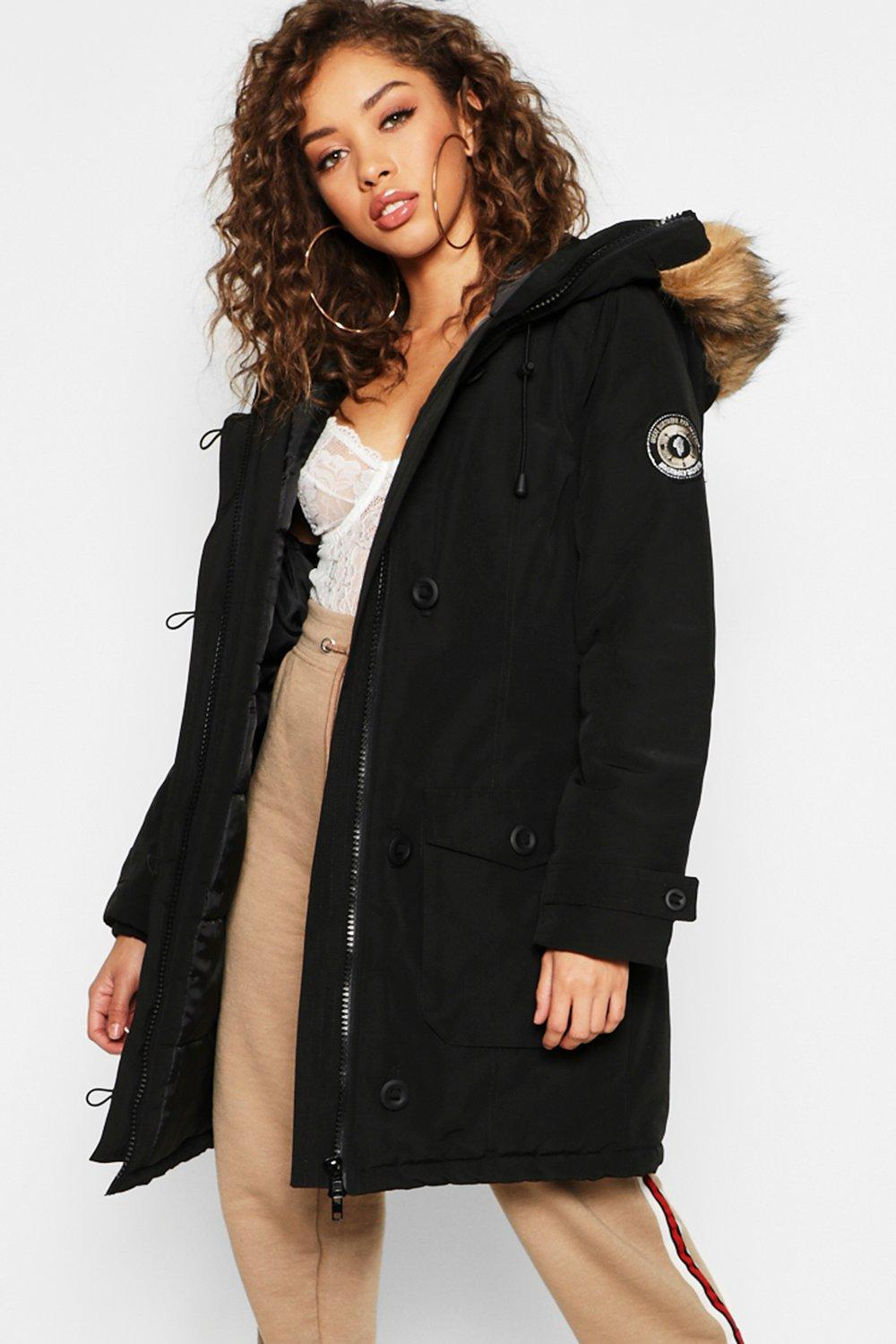 798b1e997e10 Boohoo Arctic Padded Jacket With Faux Fur Trim in Black - Lyst