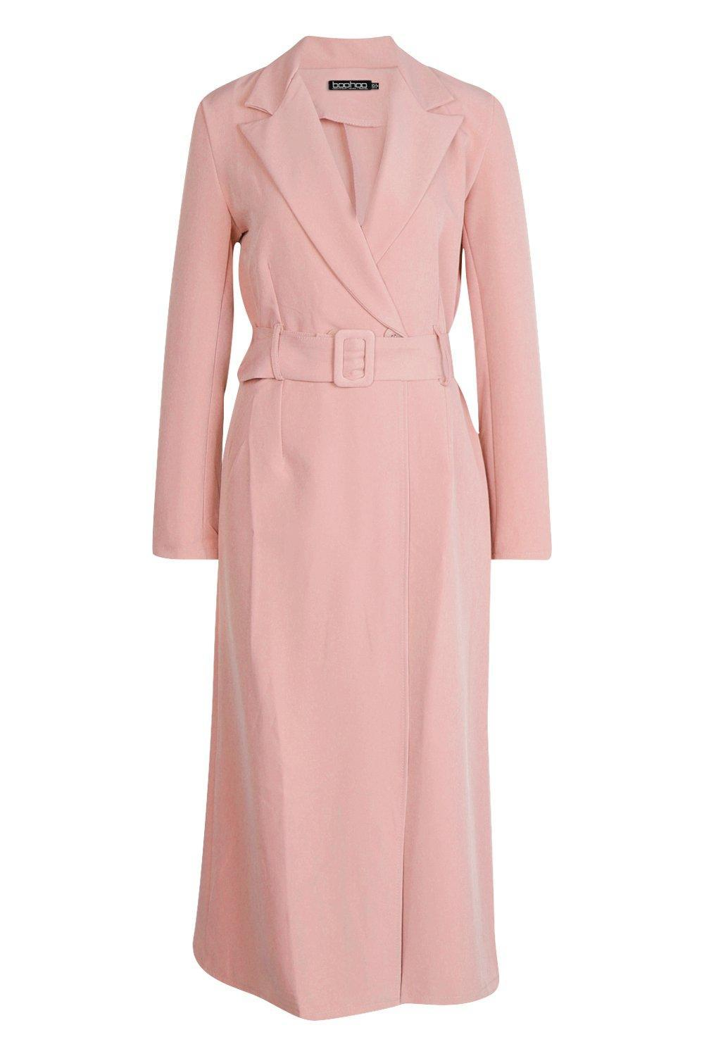 5762767f2c6 Lyst - Boohoo Covered Belt Maxi Blazer Dress in Pink