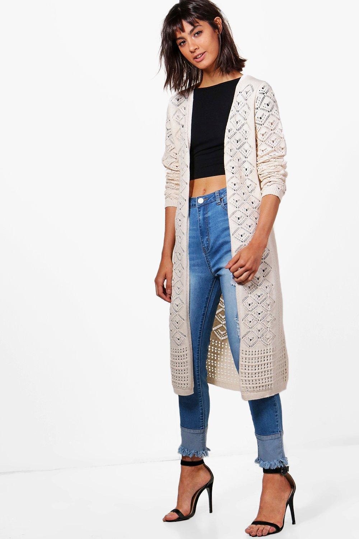 Boohoo Ellie Crochet Maxi Cardigan | Lyst