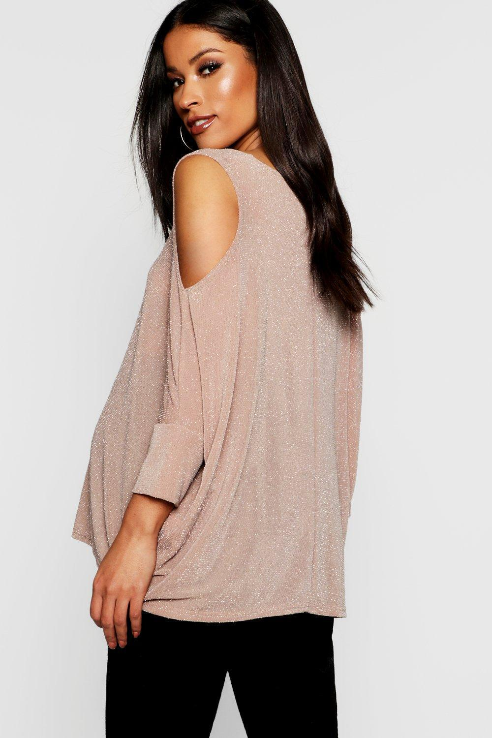 364fbc781be649 ... Shimmer Cold Shoulder Swing Top - Lyst. View fullscreen