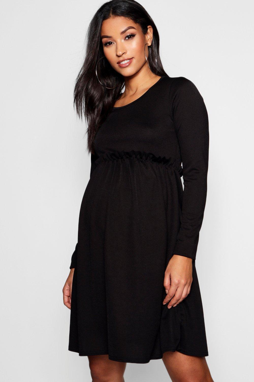 87283e665c8c Boohoo Maternity Long Sleeve Frill Smock Dress in Black - Lyst