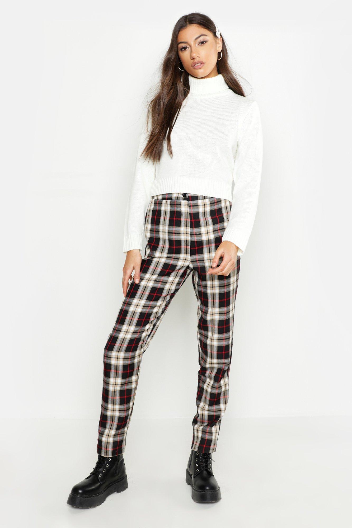 1f52a1e81d55 Boohoo. Women's Tall Tartan Tapered Pants
