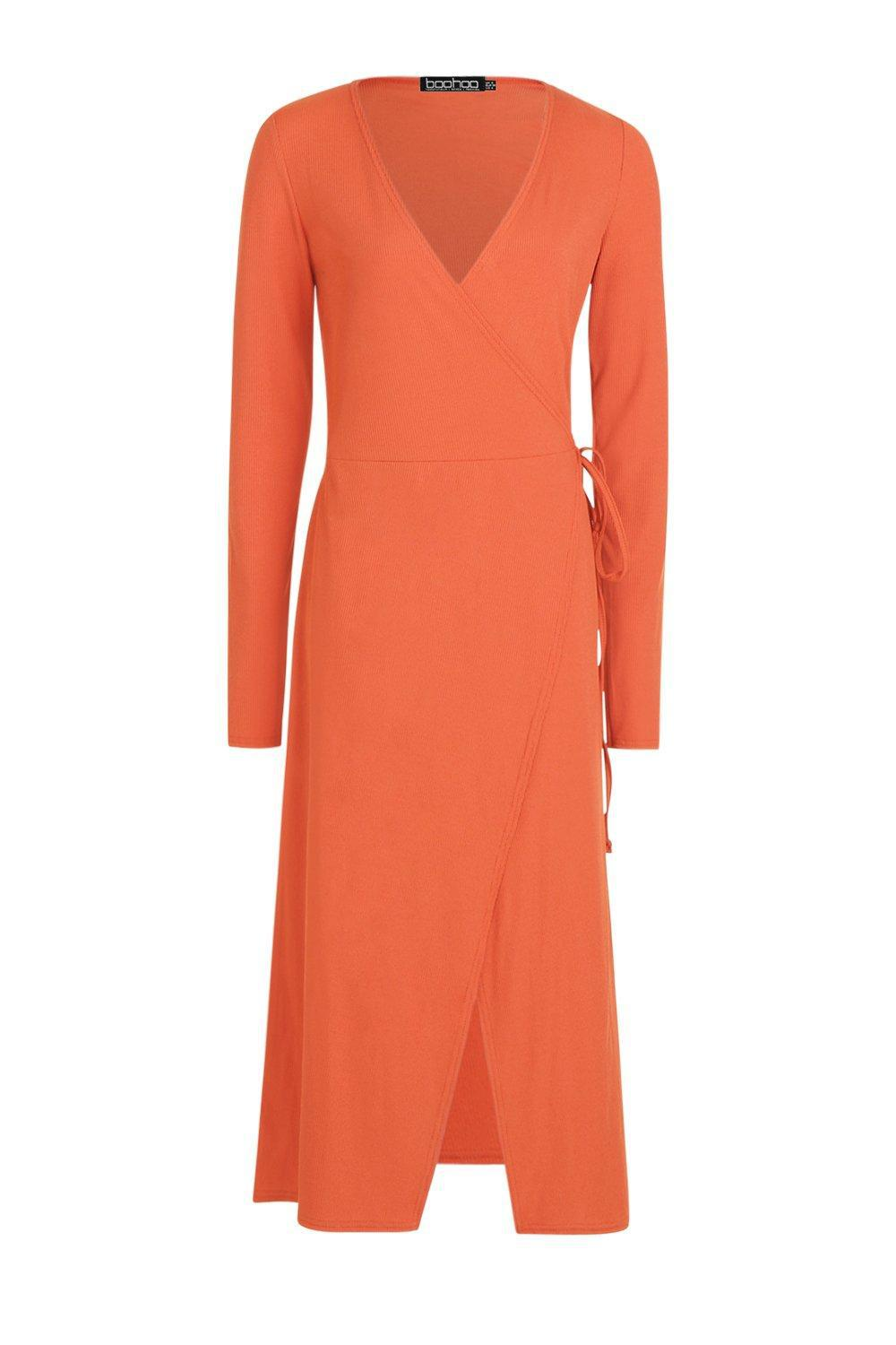 1906391df668 Boohoo - Orange Tall Rib Wrap Jersey Dress - Lyst. View fullscreen