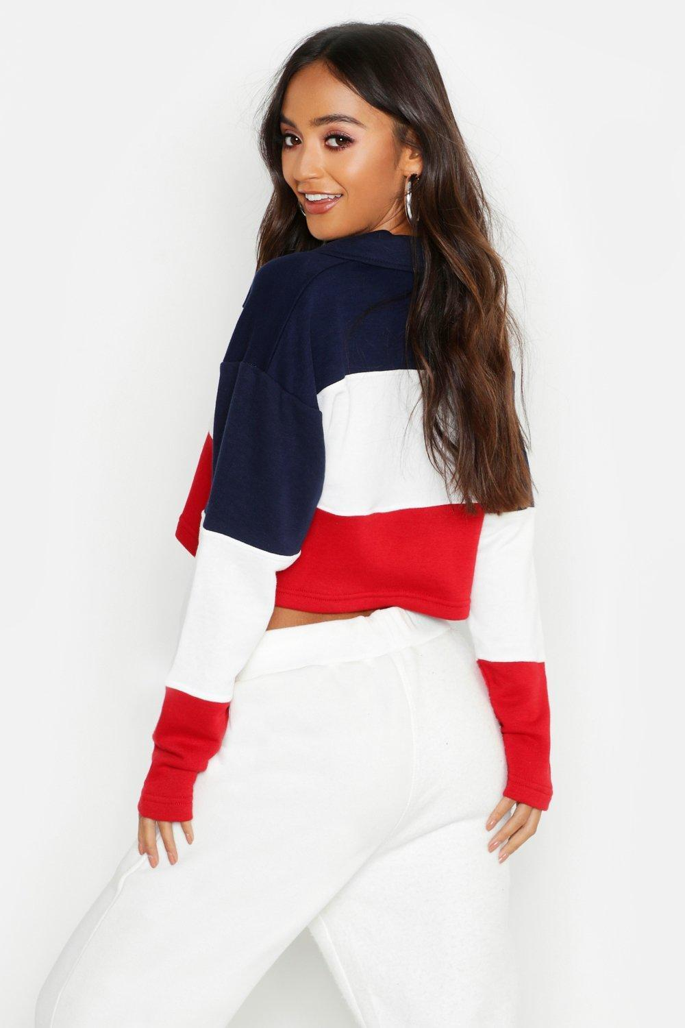 961af7717a17f Boohoo - Red Petite Colour Block Rugby Crop Sweat Top - Lyst. View  fullscreen