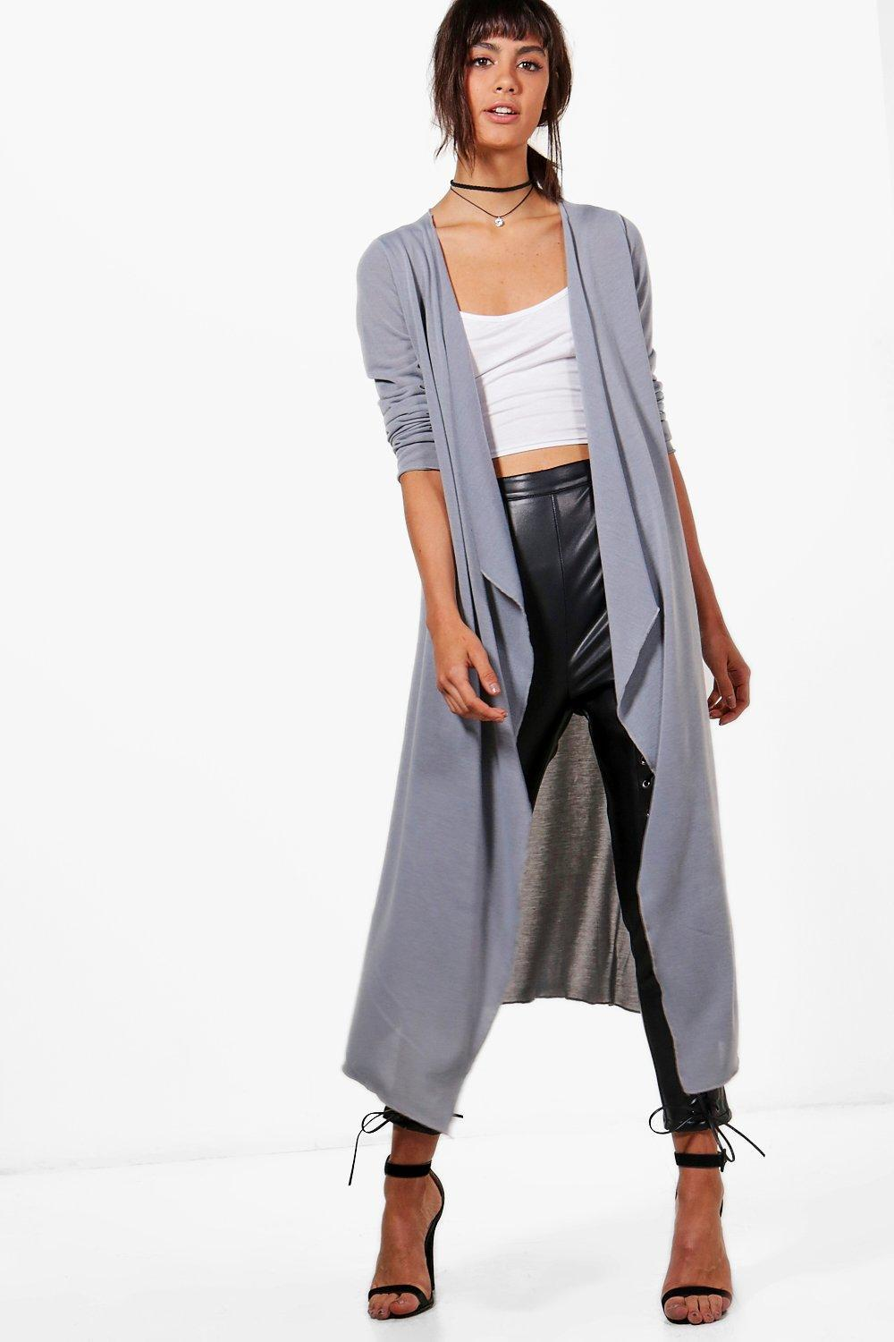Boohoo Jade Waterfall Maxi Cardigan in Gray | Lyst