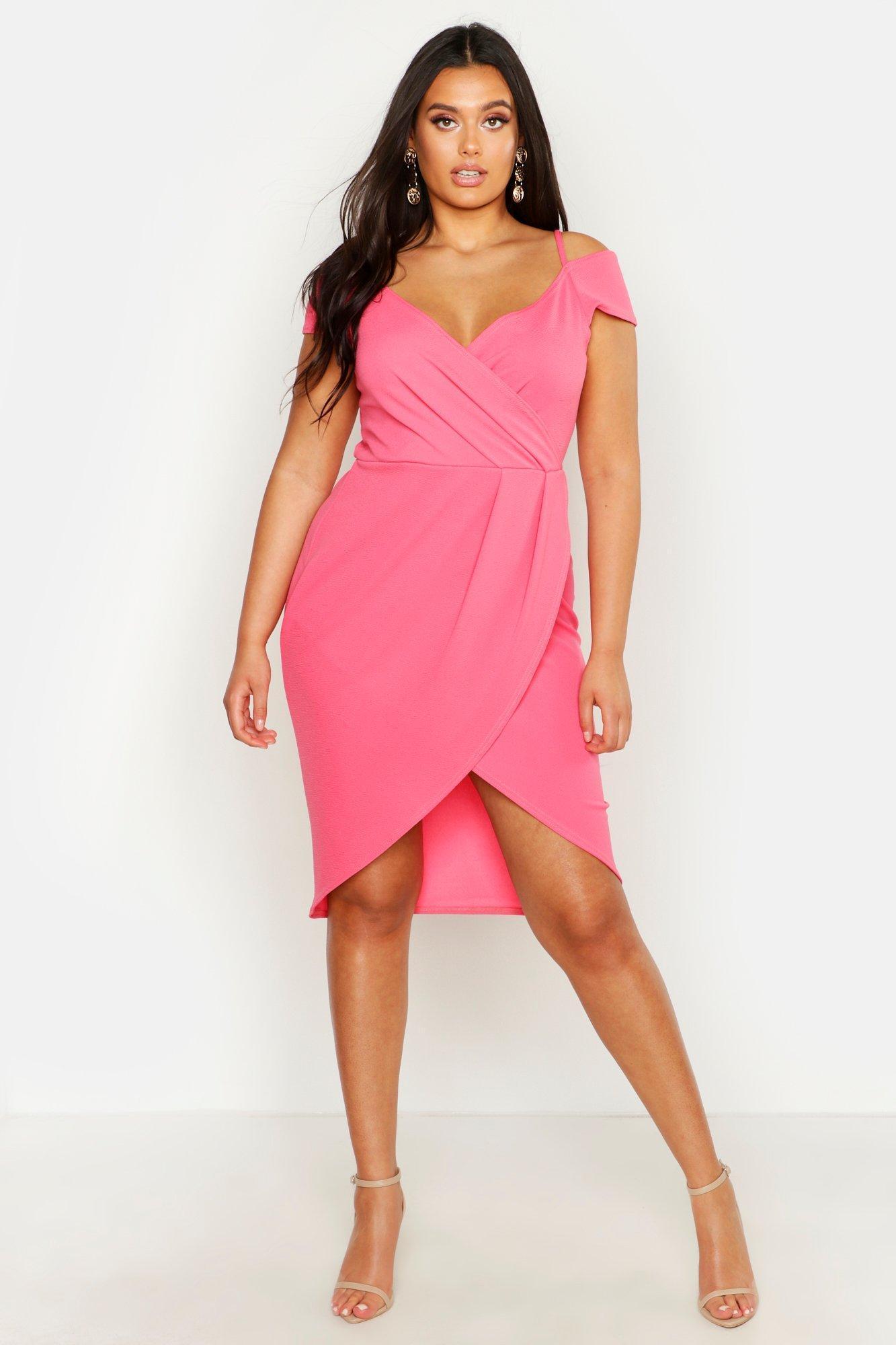 d31ced239219 Lyst - Boohoo Plus Open Shoulder Wrap Bodycon Dress in Pink