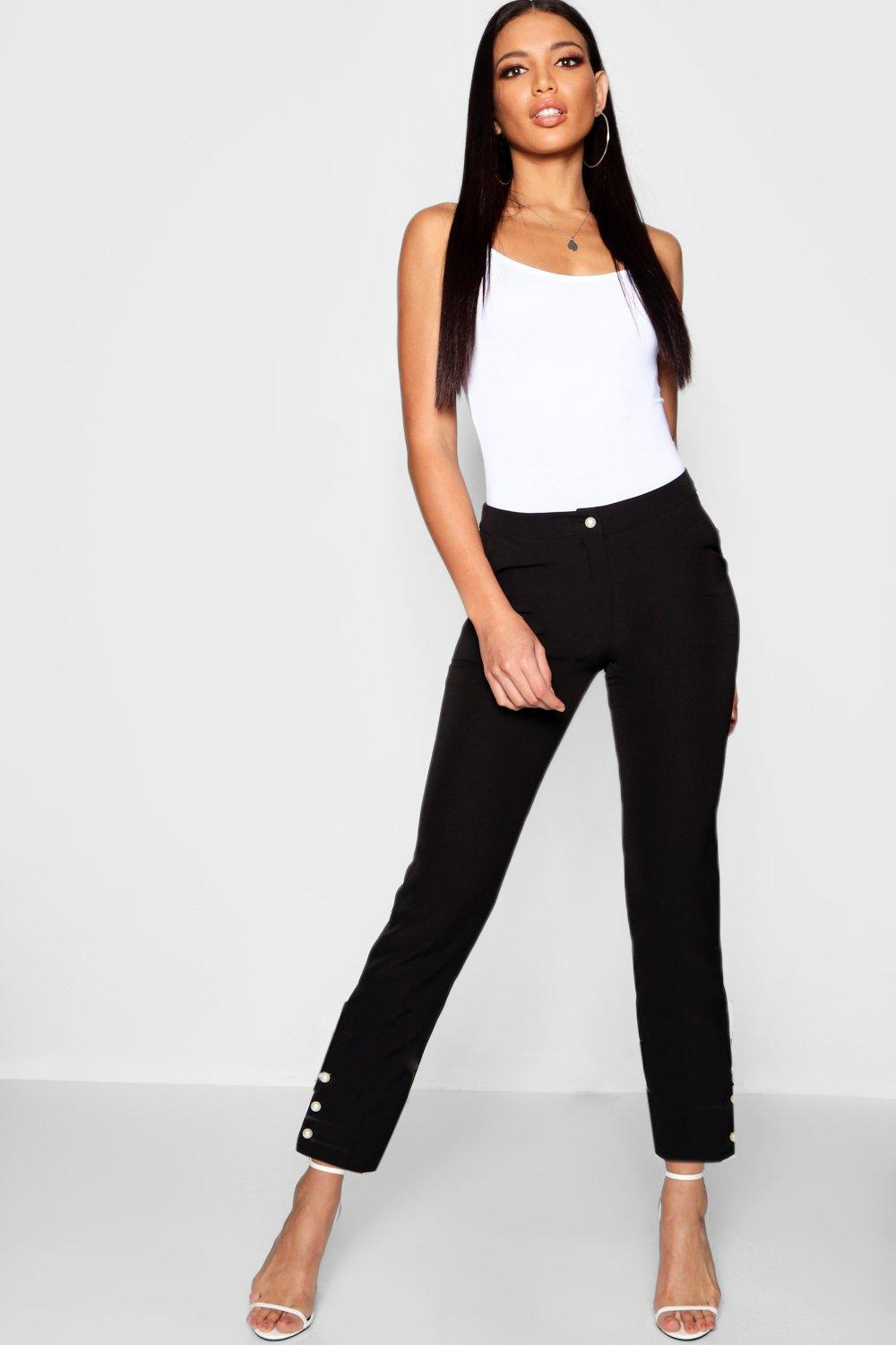 4c586e280c0cd Lyst - Boohoo Pearl Button Tapered Trousers in Black