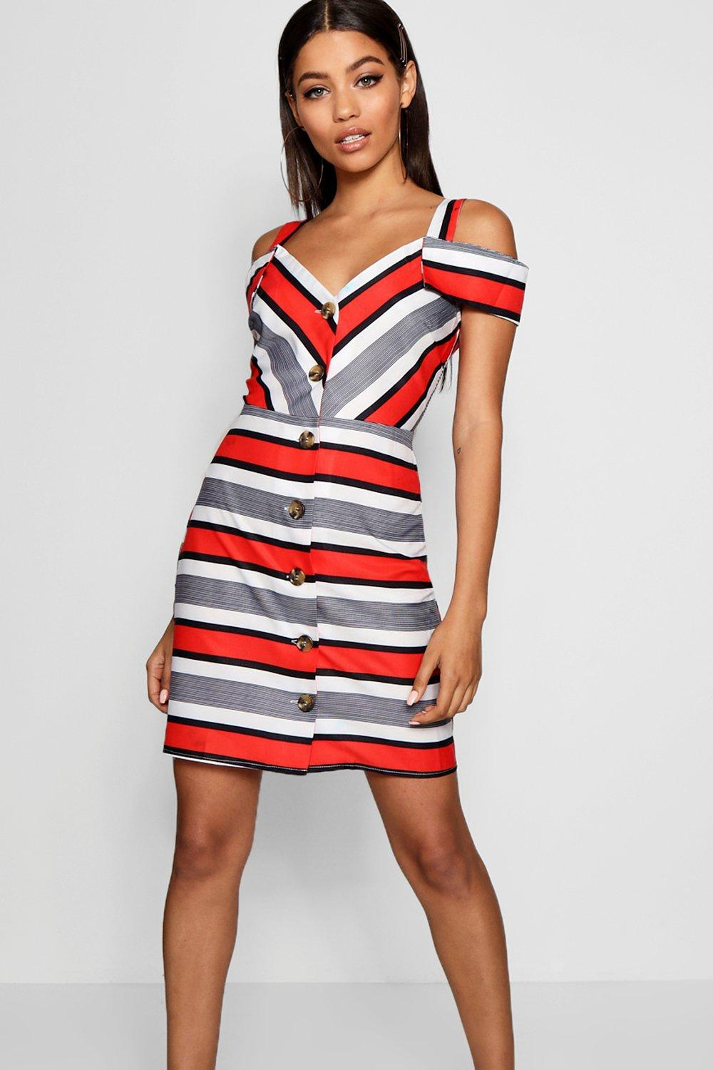 Boohoo Stripe Cold Shoulder Summer Dress in Red - Lyst d96483f4a