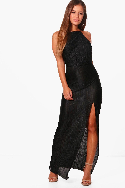 031e2f5501a77 Boohoo Petite Pleated Thigh Split Maxi Dress in Black - Lyst