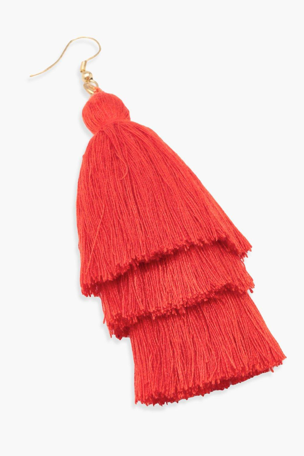 edc12d7f1fb Lyst - Boohoo Statement Tassel Earrings in Red