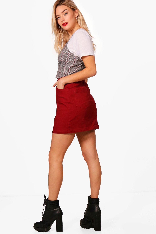 fd456b915c Boohoo Micro Mini Coloured Denim Skirt in Red - Lyst