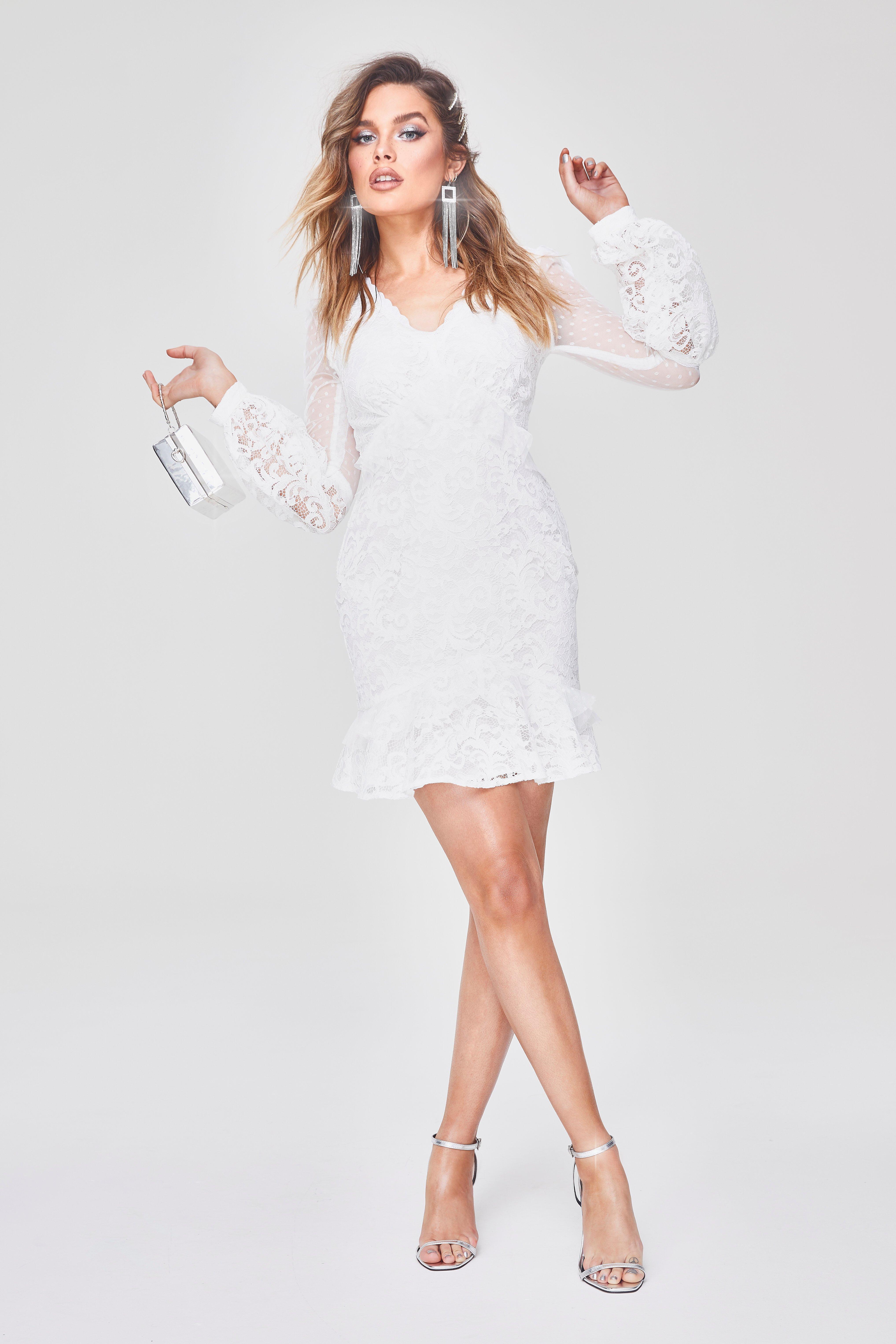 33f93b4564d8 Boohoo Premium Lace Chiffon Ruffle Mini Dress in White - Lyst