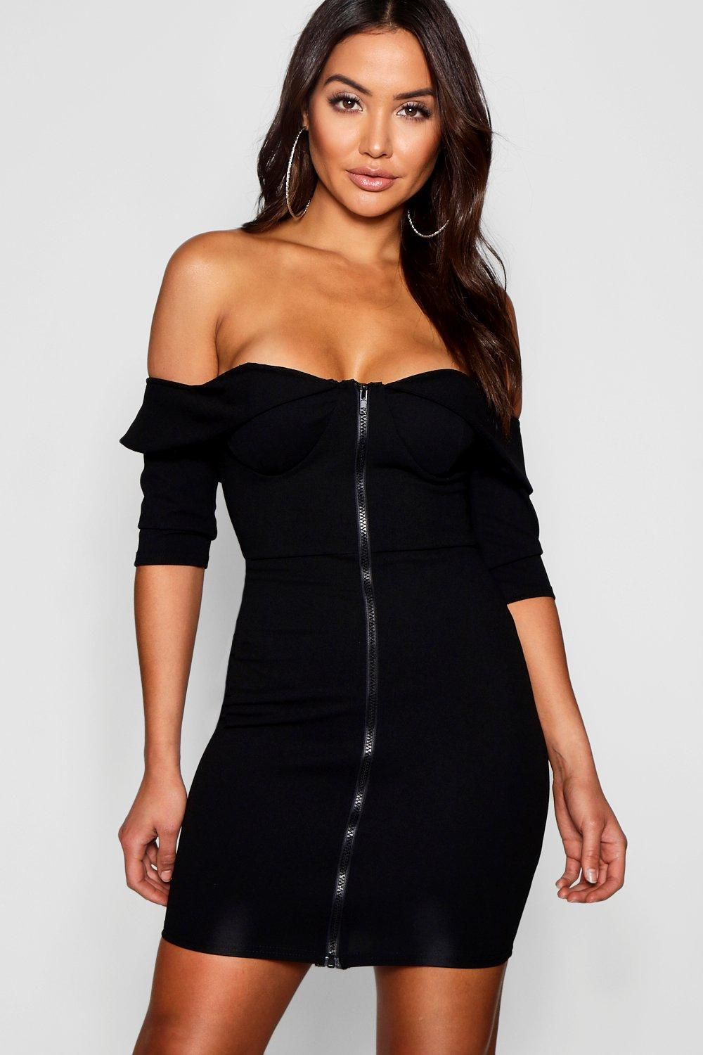 169df9439c55 Lyst - Boohoo Bardot Corset Detail Bodycon Dress in Black