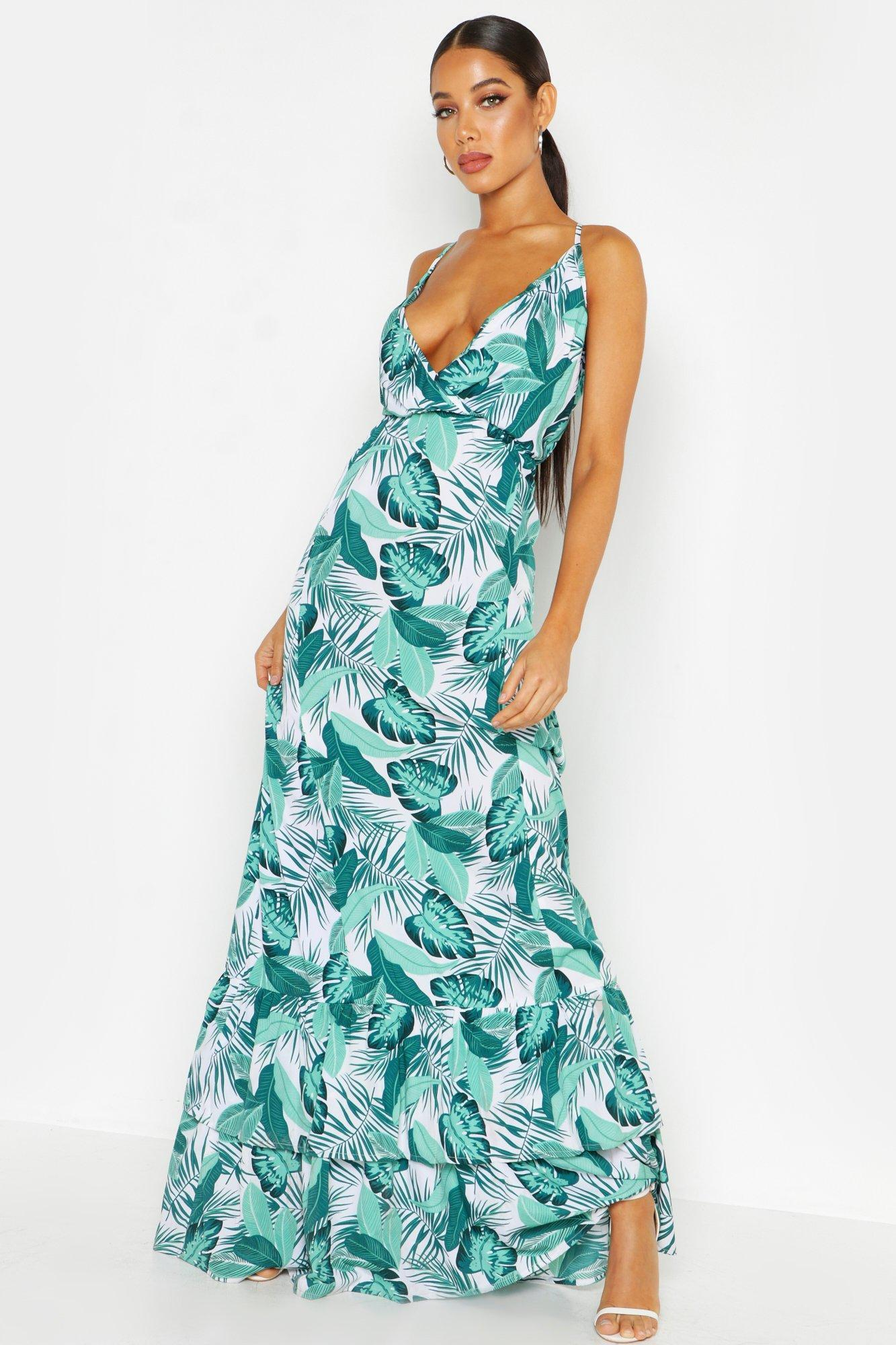 4e0f2ef4101c Lyst - Boohoo Palm Print Ruffle Hem Maxi Dress in Green