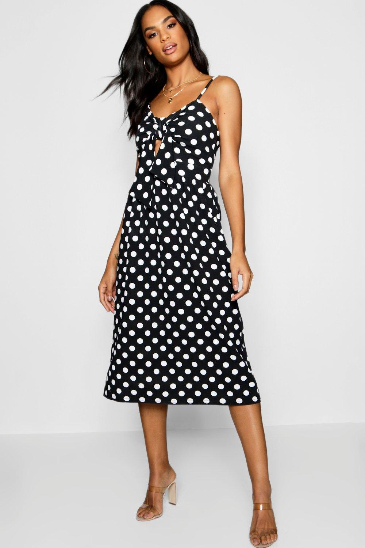 3f6deb97f526 Boohoo Tall Knot Front Polka Dot Midi Dress in Black - Lyst