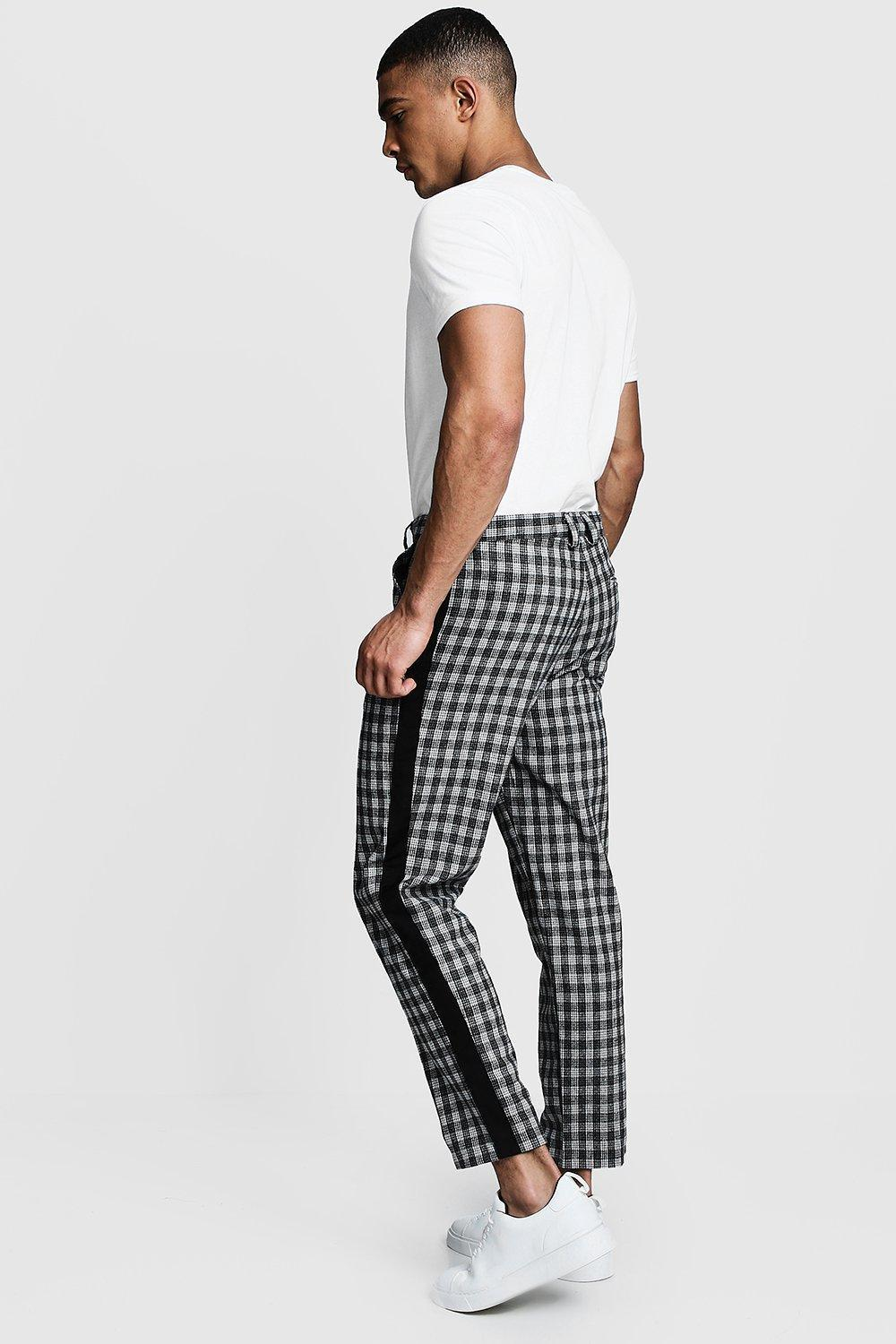 2dfee01dc341 Boohoo - Black Check Tapered Pants With Side Detail for Men - Lyst. View  fullscreen