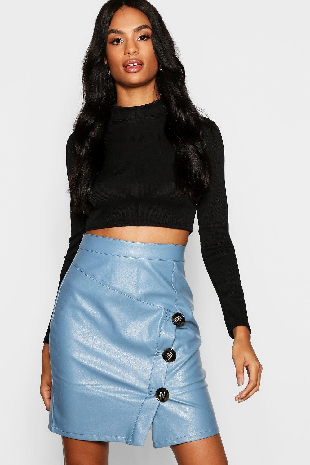 f77e88a0d1 ... Horn Button Faux Leather Mini Skirt - Lyst · Visit Boohoo. Tap to visit  site