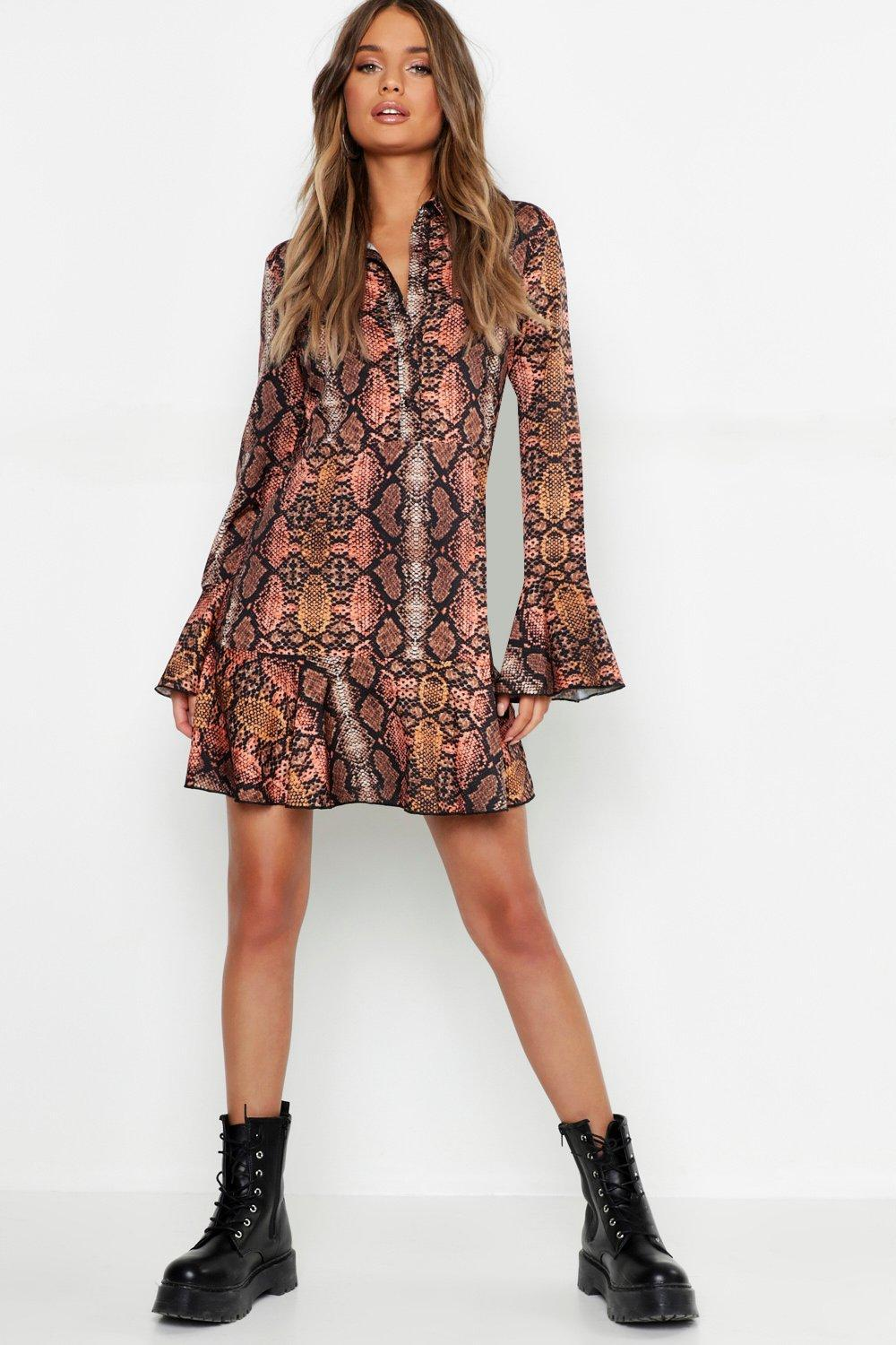 c96a8ccb5f12b Lyst - Boohoo Snake Print Ruffle Hem Shirt Dress in Brown
