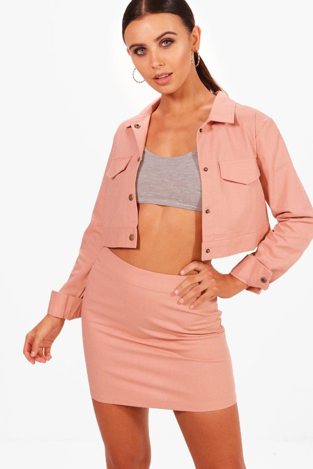 e797096523ef Boohoo Petite Cropped Jacket & Skirt Co-ord in Pink - Lyst