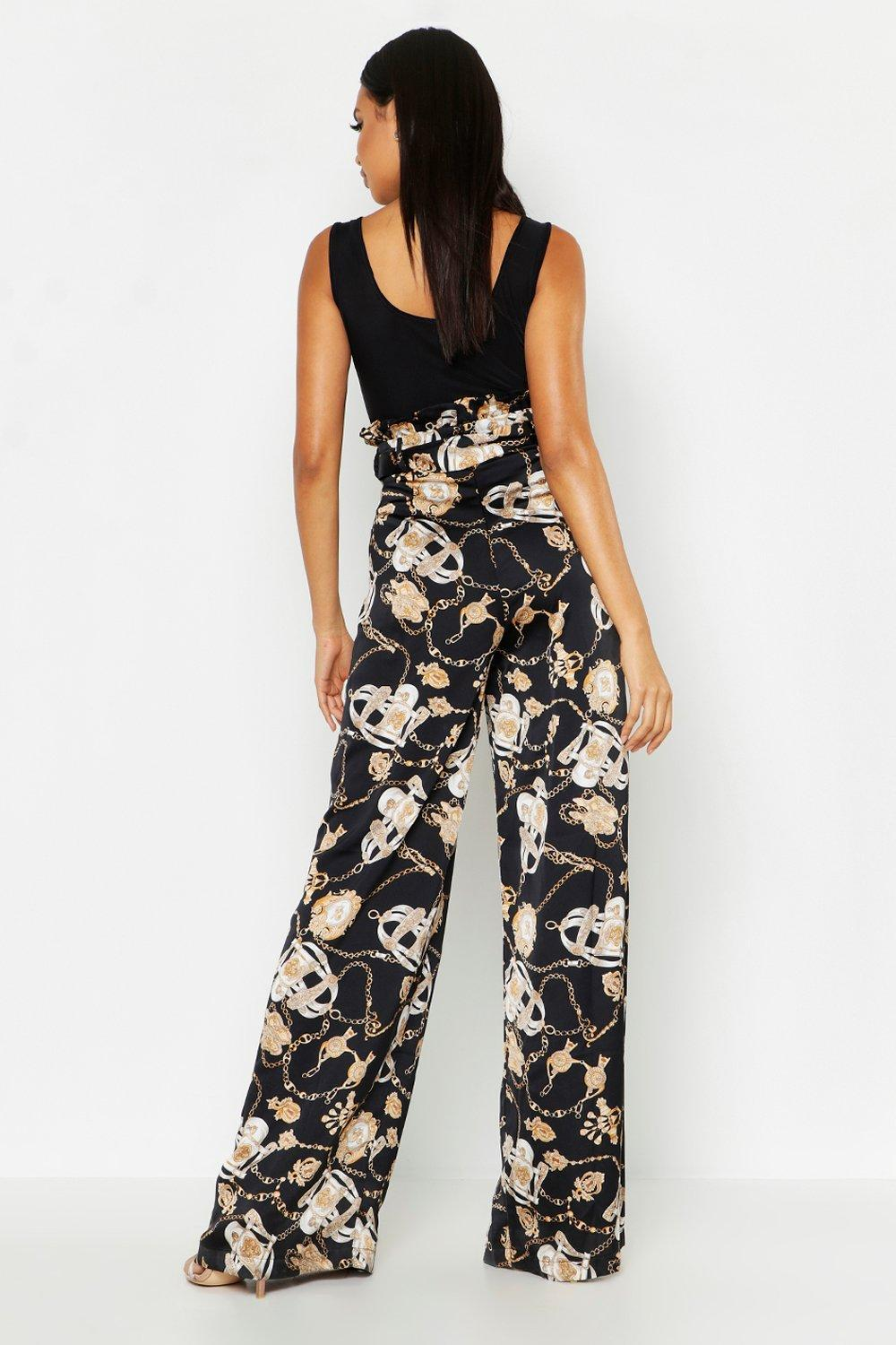 93d7c6716b75 Boohoo - White Satin Chain Print Belted Paperbag Trousers - Lyst. View  fullscreen
