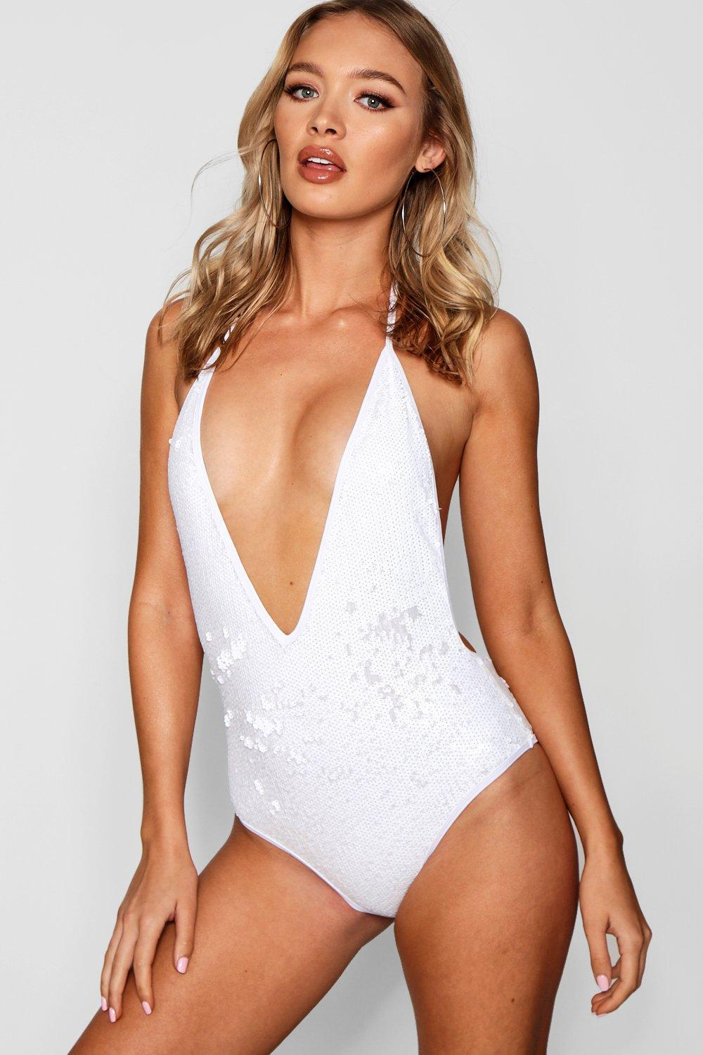 403e7f7449fd0 Boohoo All Over Sequin Swimsuit in White - Lyst