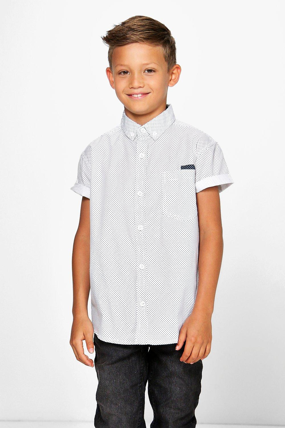 Boohoo boys polka dot short sleeved shirt in white for men for Mens polka dot shirt short sleeve