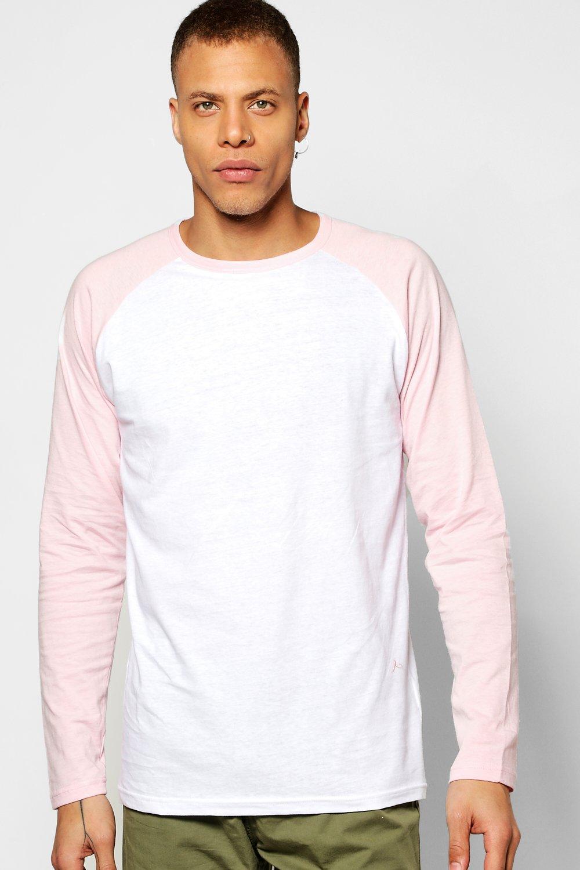 Lyst boohoo long sleeve raglan t shirt in pink for men for Mens pink long sleeve shirt