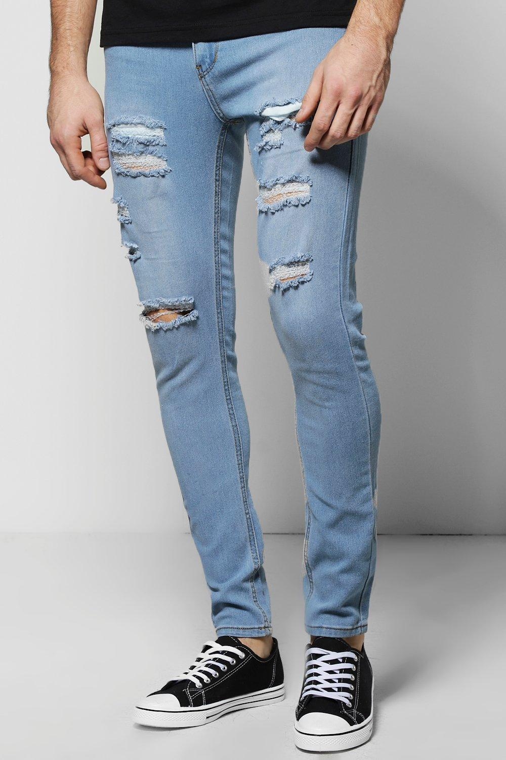 Boohoo Pale Blue All Over Ripped Skinny Fit Jeans In Blue