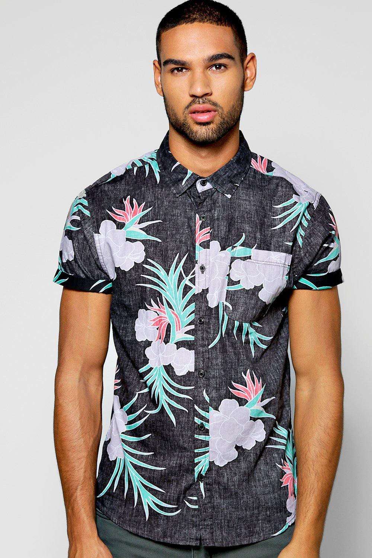 Boohoo floral print short sleeve shirt in black for men for Mens short sleeve floral shirt