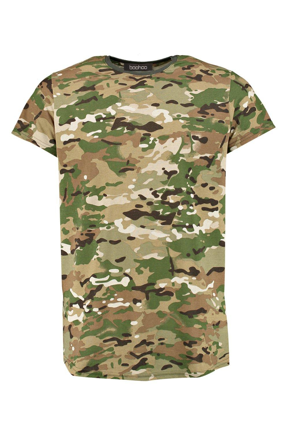 Lyst boohoo camo print t shirt in green for men for Camo print t shirt