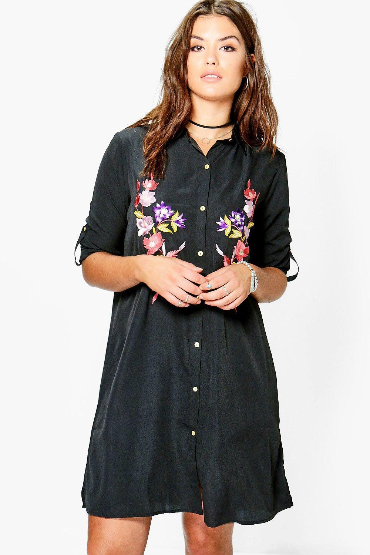 Lyst boohoo plus lauren embroidered midi shirt dress in for Midi shirt dress black