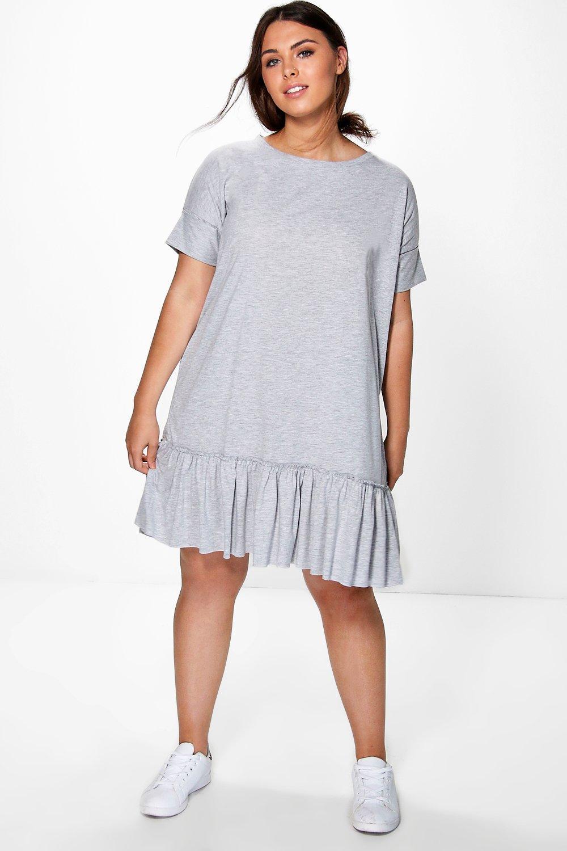 2d6684db72b40 Boohoo Plus Diana Frill Hem T-shirt Dress in Gray - Lyst