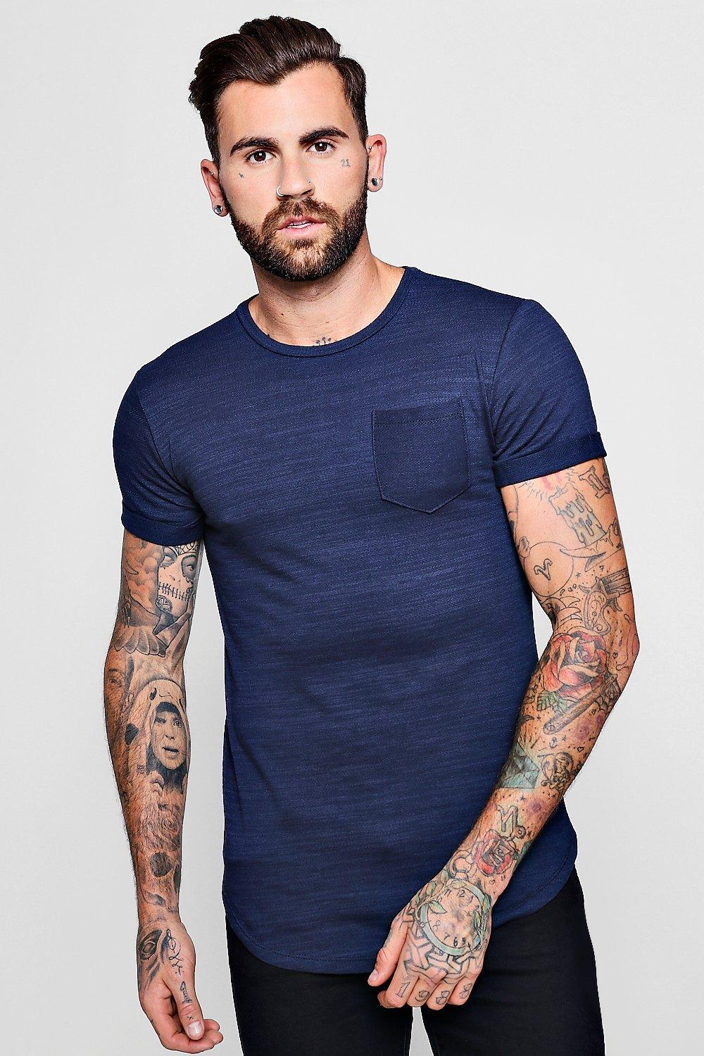 2d4a3eec58f Lyst - Boohoo Curved Hem Washed Cotton T-shirt With Pocket in Blue ...