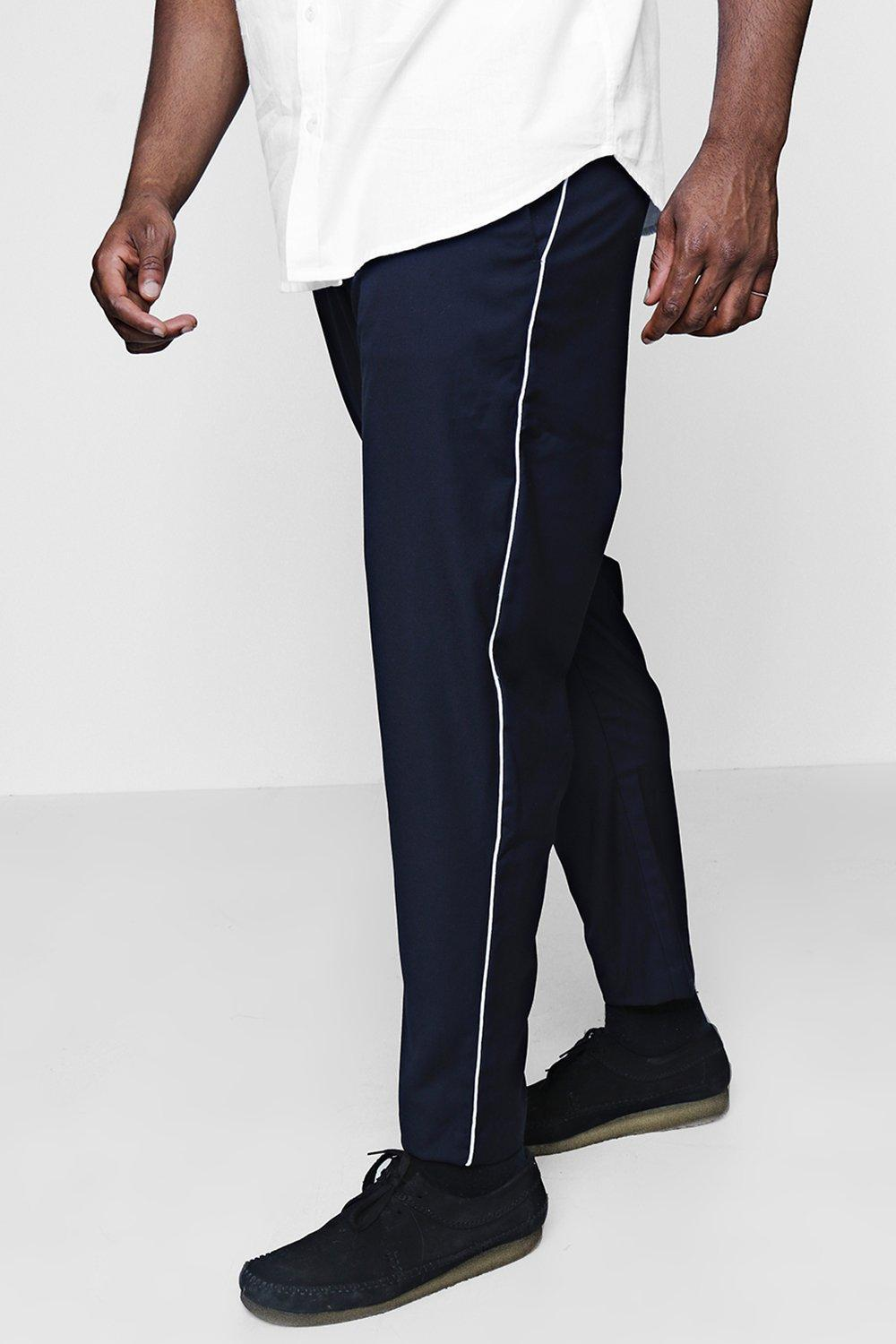 ec2066e3bc9e Lyst - Boohoo Big And Tall Tailored Trousers With Piping in Blue for Men