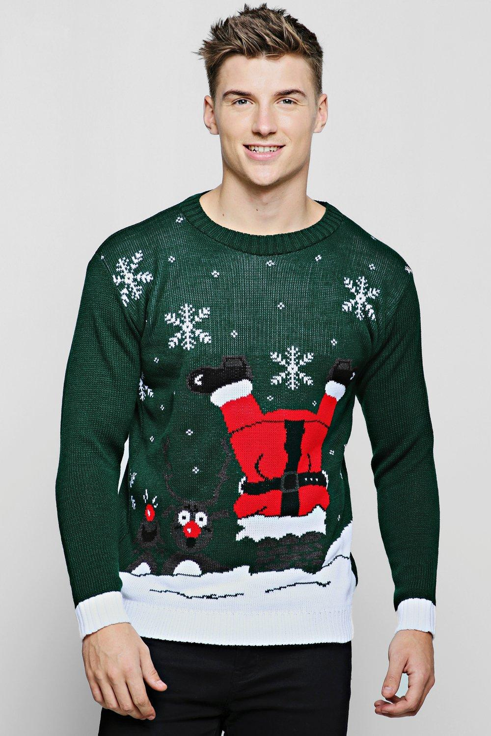 706185684bc BoohooMAN Clumsy Santa Christmas Jumper in Green for Men - Lyst