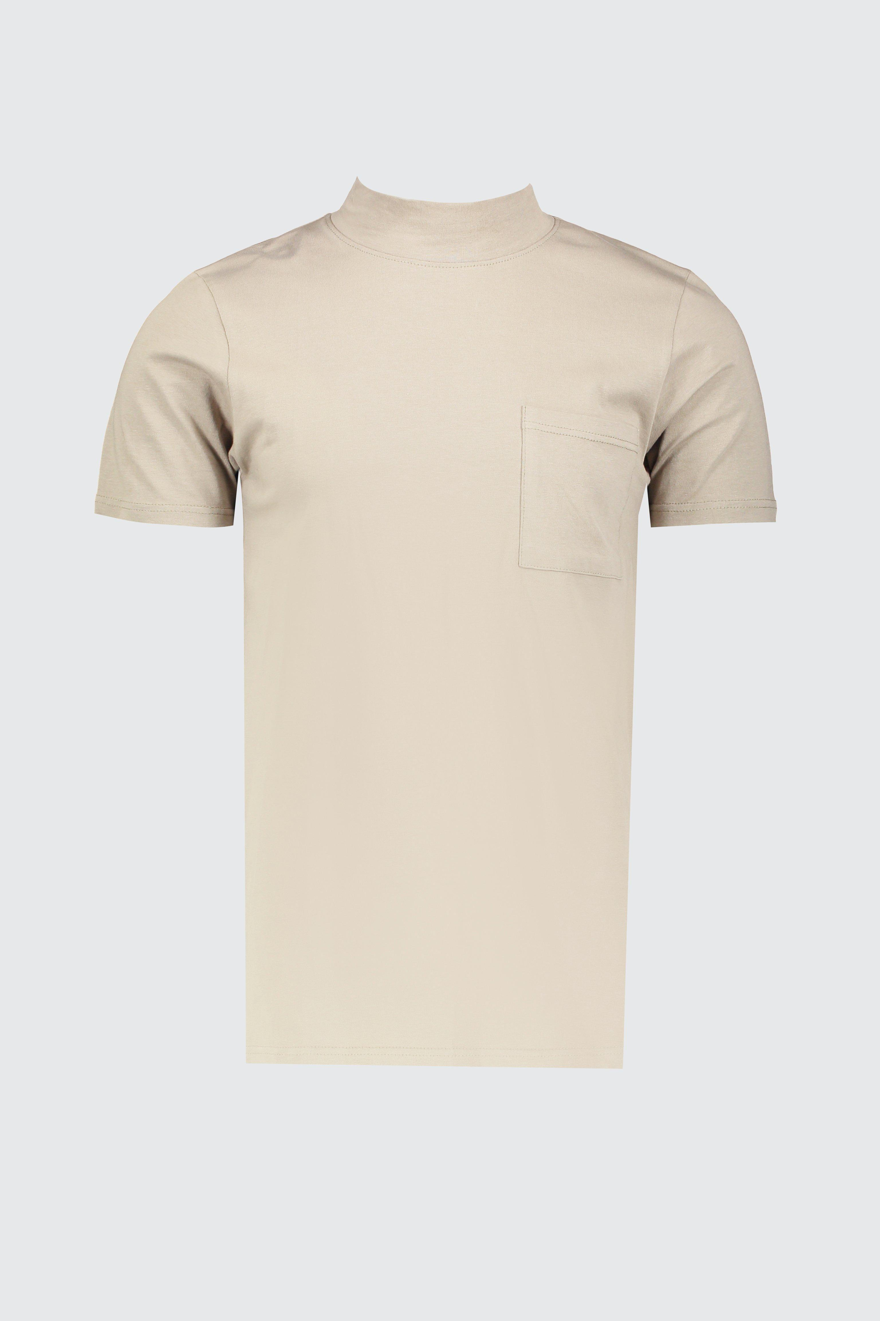 67940e75 BoohooMAN - Natural Muscle Fit T-shirt With Extended Neck for Men - Lyst.  View fullscreen