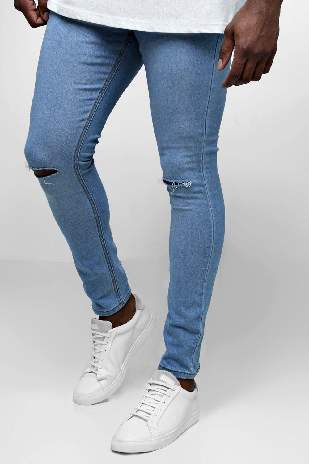 b8db197046b5 Boohoo Big And Tall Ripped Knee Skinny Fit Jeans in Blue for Men - Lyst
