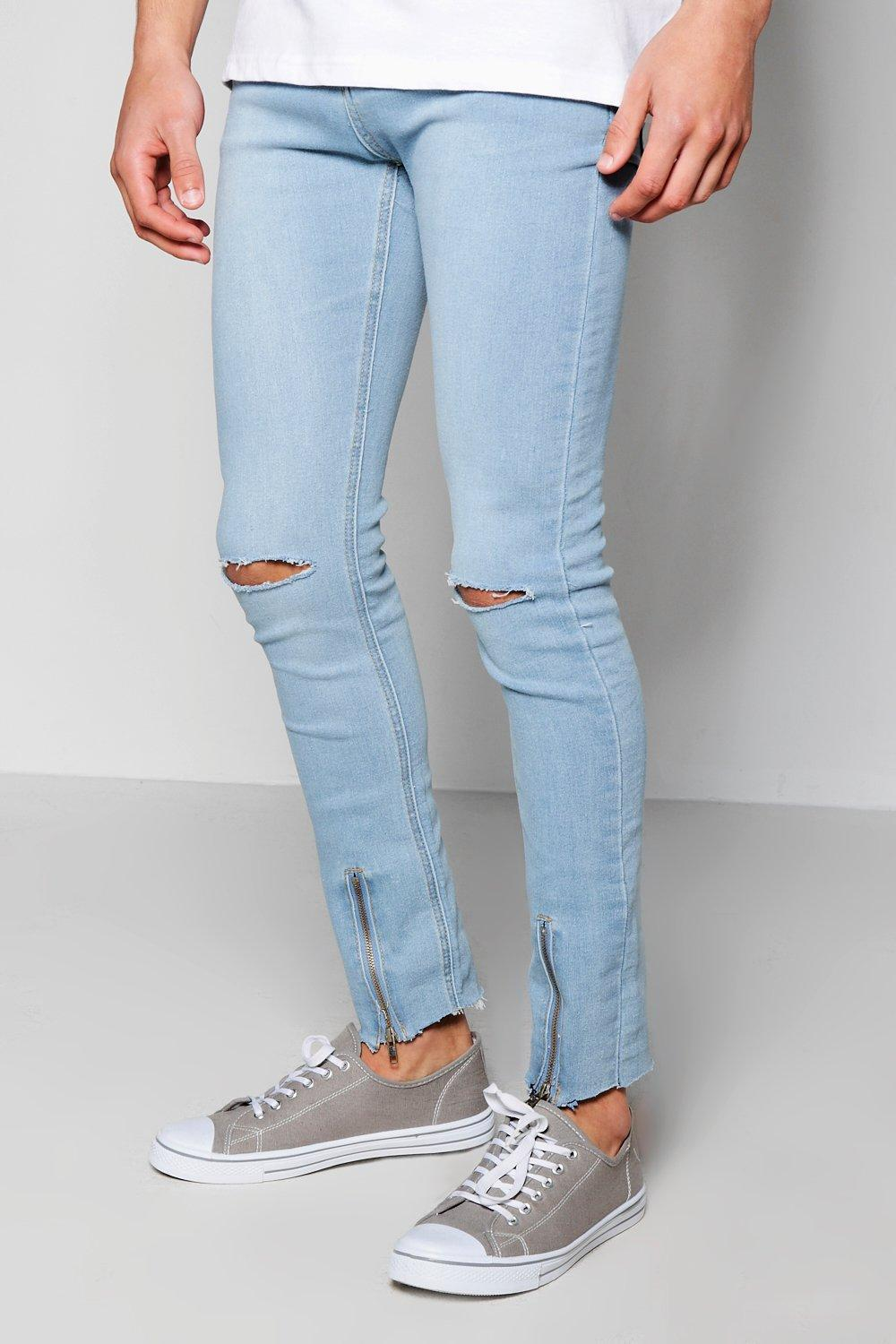 f498f564468a Lyst - Boohoo Super Skinny Ripped Knee Jeans in Blue for Men