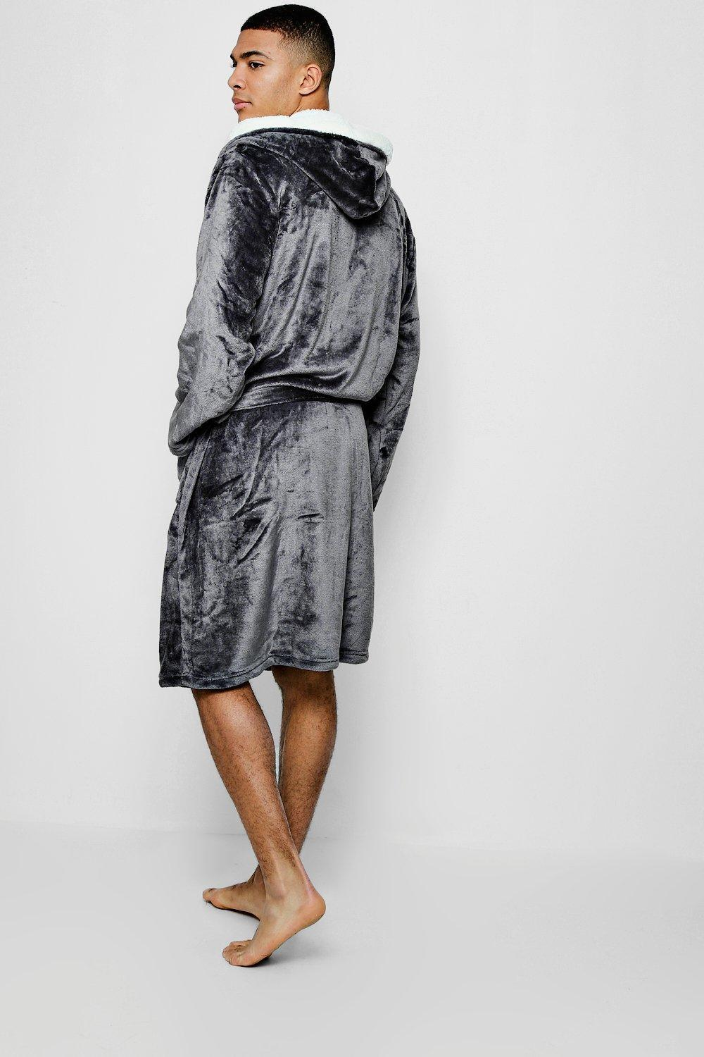 b9a0bc8150 Lyst - Boohoo Hooded Fleece Robe With Sherpa Lining in Gray for Men