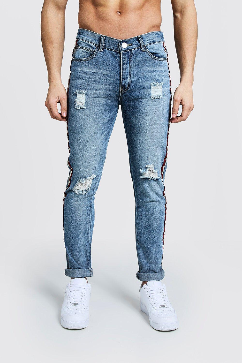 d4615016b6ca6 BoohooMAN Skinny Fit Distressed Side Tape Jeans in Blue for Men ...