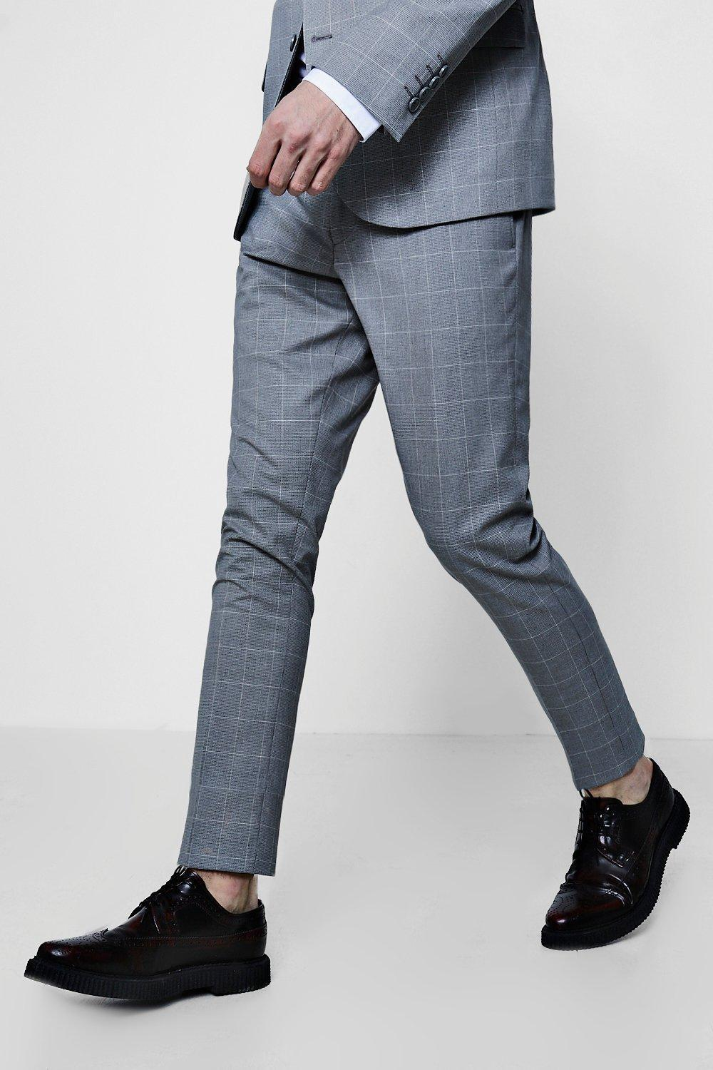 014acacdc242 Lyst - Boohoo Window Pane Check Skinny Fit Suit Trouser in Gray for Men