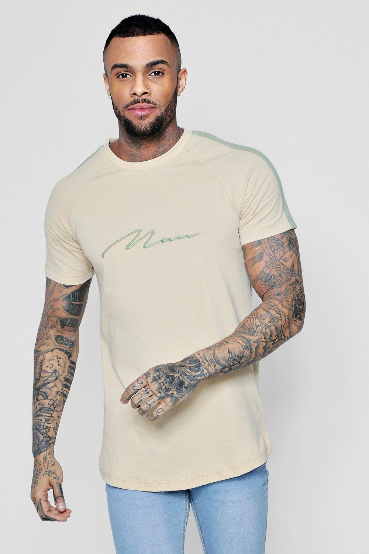 dec581f9 BoohooMAN Longline Man Signature Curve Hem T-shirt in Natural for ...