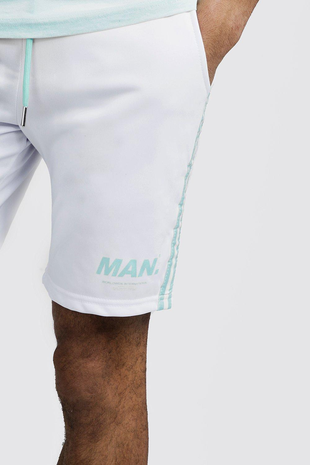 833c9d854 BoohooMAN Man Tricot Shorts With Side Stripes in White for Men - Lyst